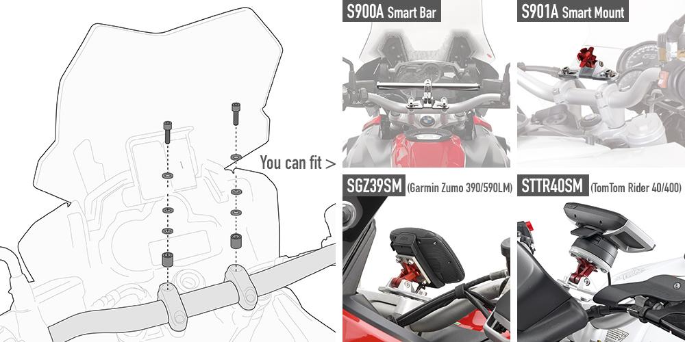 Kit específico 06SKIT para el montaje del S900A Smart Bar y S901A Smart Mount para moto YAMAHA MT 07 TRACER 2016
