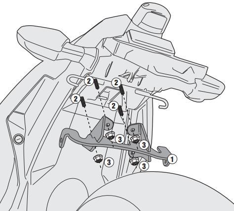 Adaptador Givi 4108KIT para el montaje del soporte de alforjas en la Kawasaki Ninja 300 13> en ausencia del monorack