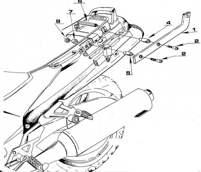 soporte de maleta trasera givi 422f para moto kawasaki zzr