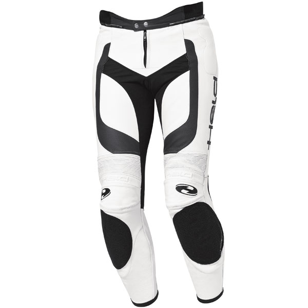 Pantalón de piel unisex Held Rocket II blanco-negro