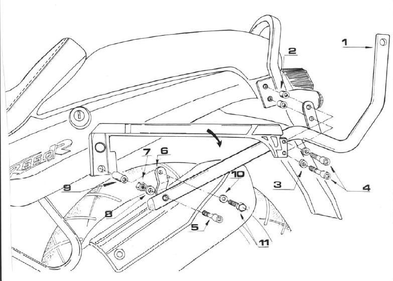 Anclaje específico Givi para BMW R850R 95-02 , R1100 95-01 Necesita de parrilla M3 para instalar baúles Monokey y MM para Monolock
