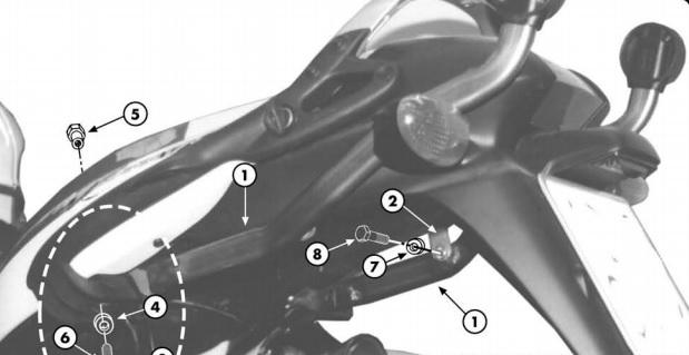Anclaje maletas Givi para BMW K 1200 GT 03-04 y K 1200 RS 97-04 necesita parrilla M3 para instalar baúles Monokey y MM para Monolock