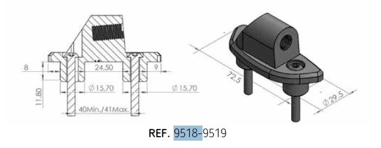 Adaptador retrovisor al carenado Puig 9519N lado izquierdo para BMW F800GT 2017