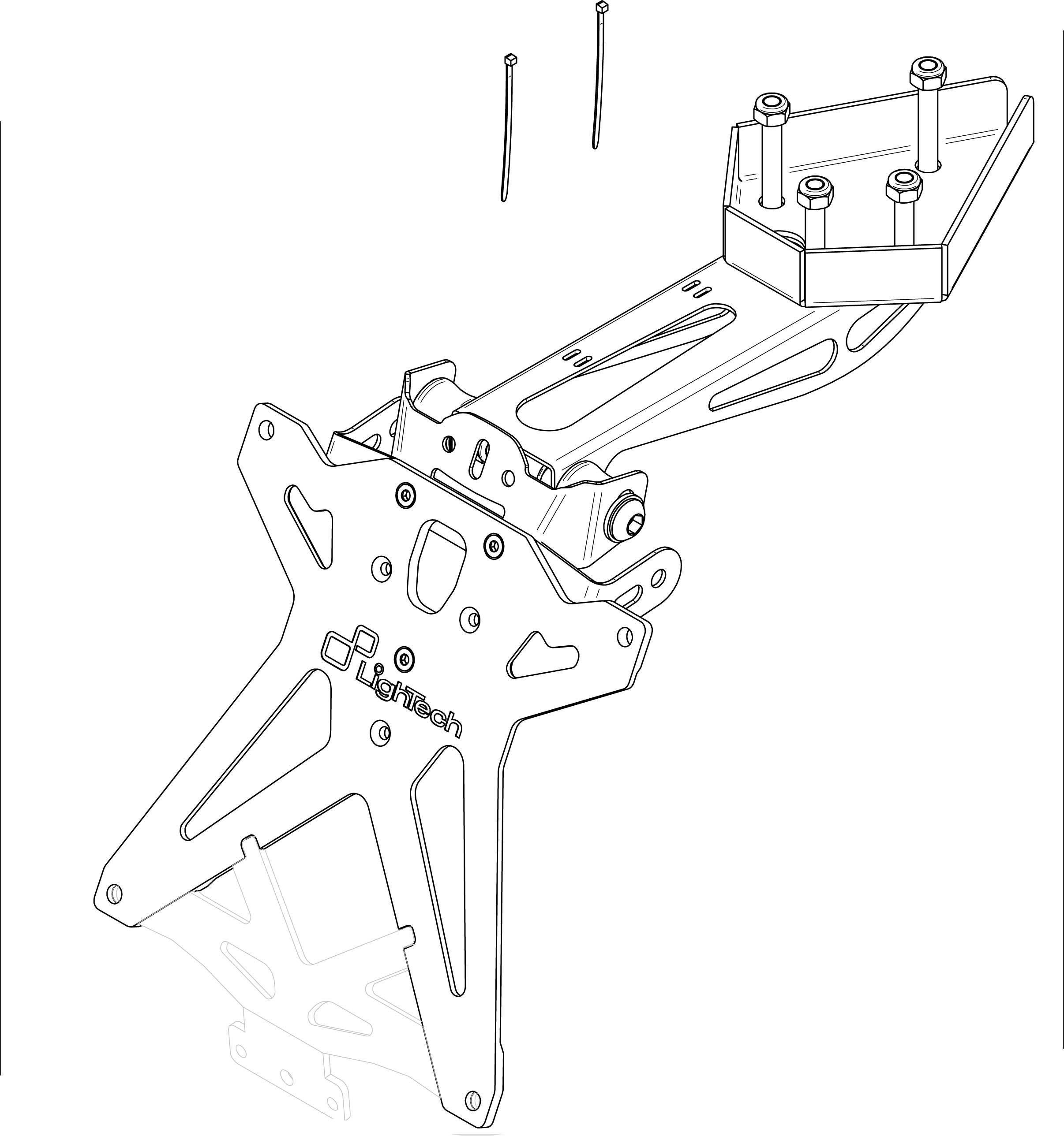 Portamatrículas Lightech para Triumph DAYTONA 675 13>