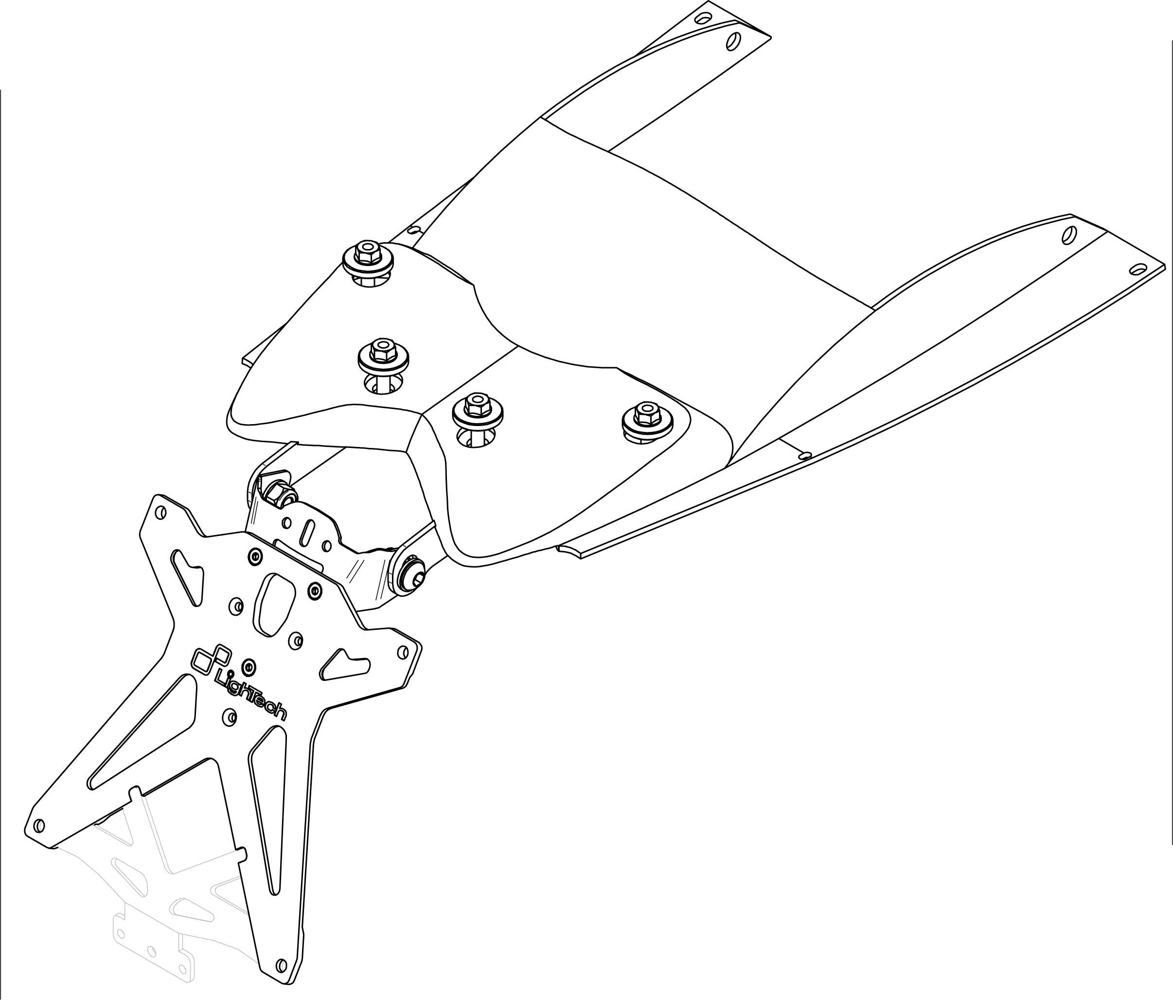 Portamatrícula Lightech para Yamaha T-MAX 500 08-11 paso de rueda incluído