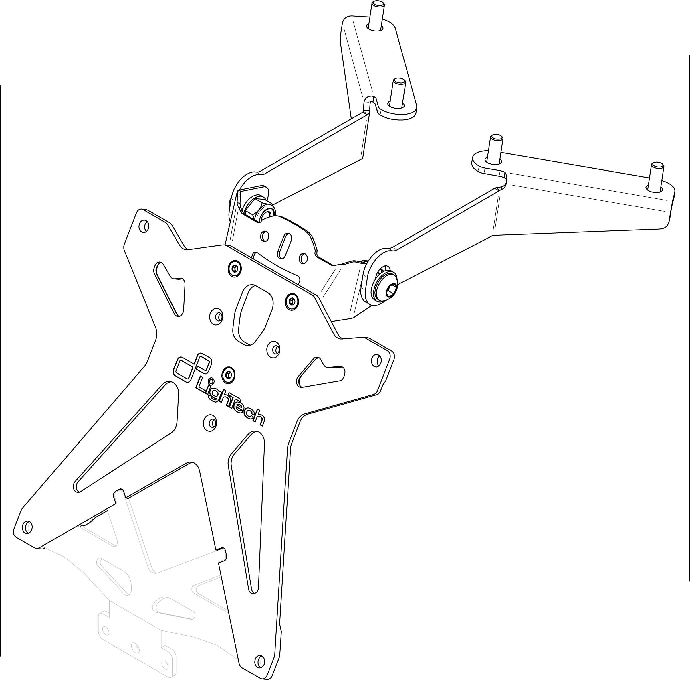 Portamatrículas Lightech para Yamaha T-MAX 530 12-14