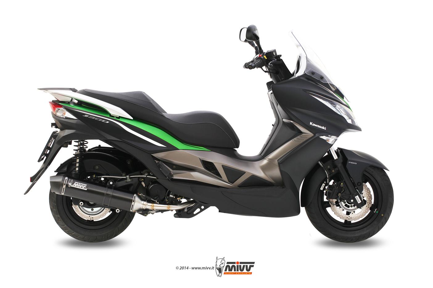 Escape completo no homologado Mivv Stronger acero negro para Kymco Downtown 300 09-12 Kawasaki J300 14-20