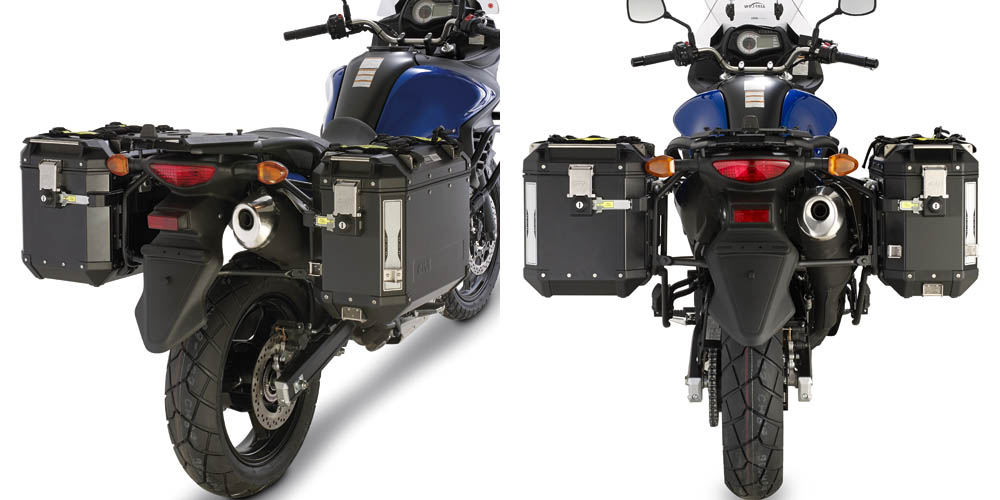 Soporte de maletas laterales Givi Trekker Outback Monokey Cam-Side para moto Suzuki DL 650 V-Strom 2011>