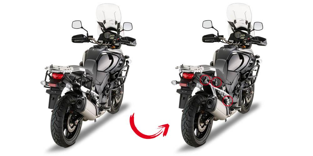 Soporte de maletas laterales Givi PLR3105 con anclaje rapido para Suzuki DL 1000 V-Strom 2014>