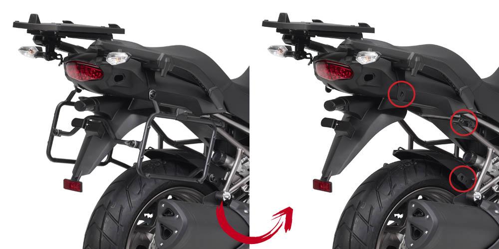 Soporte de maletas laterales Givi Monokey PLR4105 con fijación rápida Para moto Kawasaki Versys 1000 12-14