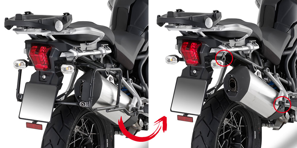 Soporte de maletas laterales Monokey Givi PLR6403 de fijación rápida para moto Triumph Tiger Explorer 1200 2012>