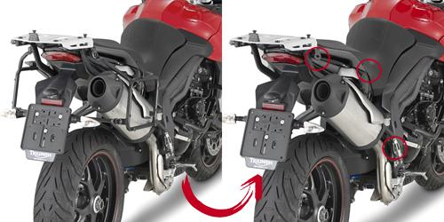 Soporte de maletas laterales Givi Monokey PLR6404 de fijación rápida para moto Triumph Tiger Sport 1050 13-15