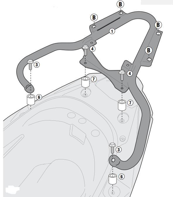 Soporte de baúl trasero monokey Givi SR6103 para moto Kymco K-XCT 125i-300i 13>