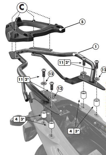Soporte de baúl trasero Givi Monolock SR777M para moto Honda CBF 1000 / ST 10-14