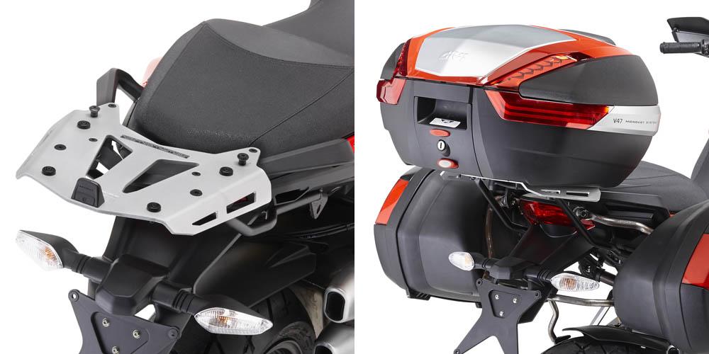 Soporte de baúl trasero Givi Monokey SRA7401 con parrilla de aluminio Para moto Ducati Multistrada 1200 10-14