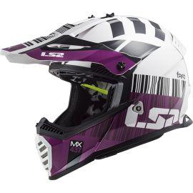 Casco Off-Road LS2 Fast Evo Xcode Blanco / Violeta