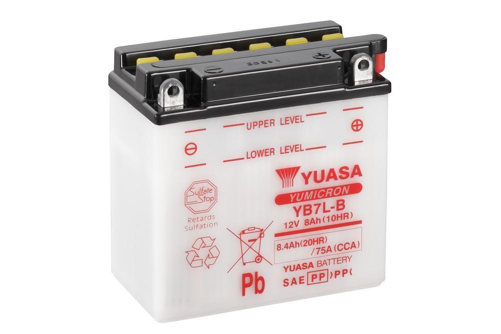Batería Yuasa YB7L-B con pack de ácido